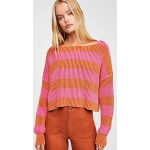 Free people pink and orange crop sweater